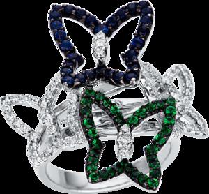 Ring Brogle Selection Felicity Schmetterlinge aus 750 Weißgold mit 72 Brillanten (0,81 Karat), 36 Tsavolithen und 30 Saphiren