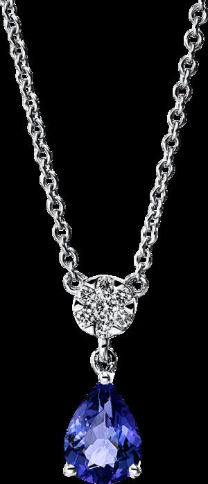 Halskette mit Anhänger Brogle Selection Felicity Tropfen aus 750 Weißgold mit 7 Brillanten (7 Karat) und 1 Tansanit