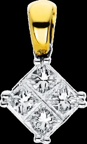 Anhänger Brogle Selection Illusion aus 750 Weißgold und 750 Gelbgold mit 4 Diamanten (0,4 Karat)
