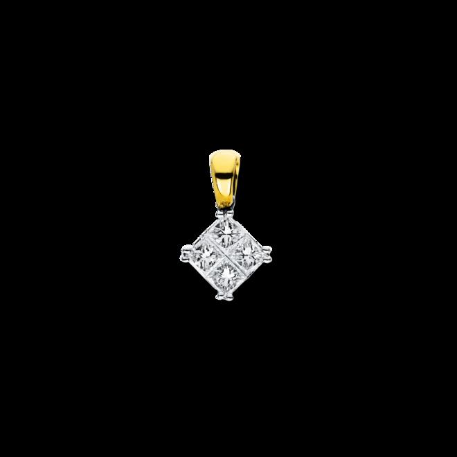 Anhänger Brogle Selection Illusion aus 750 Weißgold und 750 Gelbgold mit 4 Diamanten (0,4 Karat) bei Brogle
