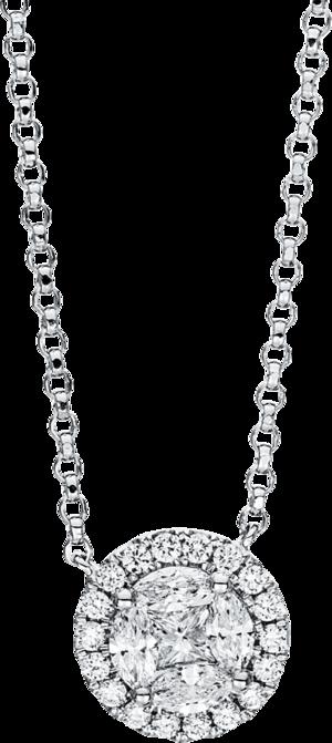 Halskette mit Anhänger Brogle Selection Illusion aus 750 Weißgold mit 25 Brillanten (0,93 Karat)