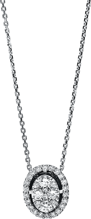 Halskette mit Anhänger Brogle Selection Illusion aus 750 Weißgold mit 32 Brillanten (0,46 Karat)