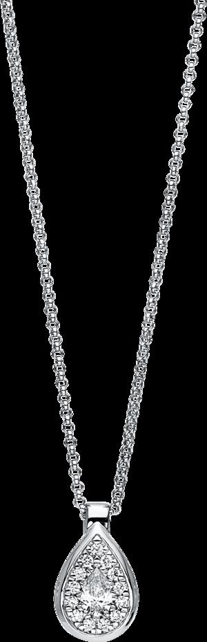 Halskette mit Anhänger Brogle Selection Illusion aus 750 Weißgold mit 14 Brillanten (0,23 Karat)
