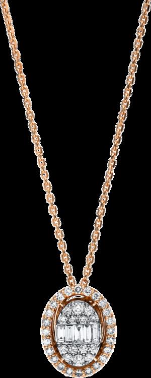 Halskette mit Anhänger Brogle Selection Illusion aus 585 Roségold und 585 Weißgold mit 43 Brillanten (0,49 Karat)