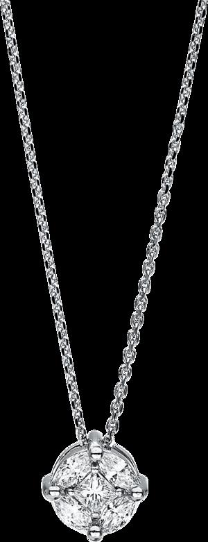 Halskette mit Anhänger Brogle Selection Illusion aus 750 Weißgold mit 5 Diamanten (0,57 Karat)