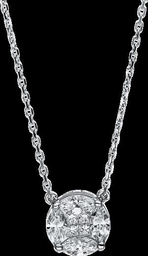 Halskette mit Anhänger Brogle Selection Illusion aus 750 Weißgold mit 4 Diamanten (0,07 Karat)
