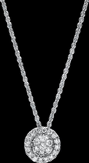 Halskette mit Anhänger Brogle Selection Illusion aus 750 Weißgold mit 23 Brillanten (0,29 Karat)
