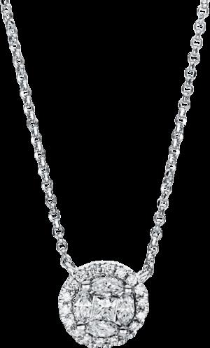 Halskette mit Anhänger Brogle Selection Illusion aus 750 Weißgold mit 27 Brillanten (0,31 Karat)