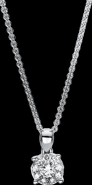 Halskette mit Anhänger Brogle Selection Illusion aus 750 Weißgold mit 10 Brillanten (0,38 Karat)