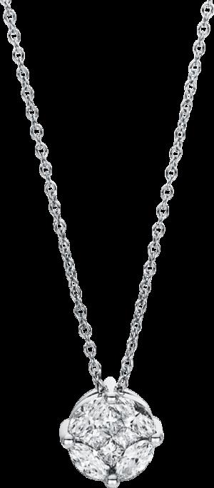 Halskette mit Anhänger Brogle Selection Illusion aus 750 Weißgold mit 8 Diamanten (0,63 Karat)