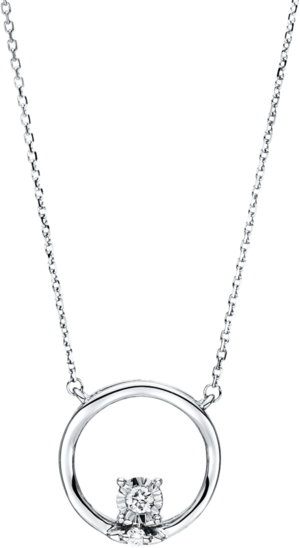 Halskette mit Anhänger Brogle Selection Illusion aus 750 Weißgold mit 2 Brillanten (0,06 Karat)