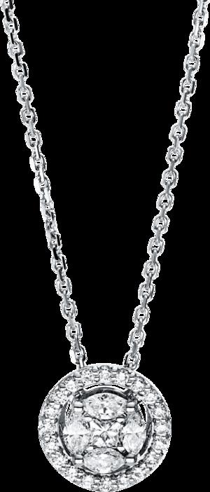 Halskette mit Anhänger Brogle Selection Illusion aus 750 Weißgold mit 25 Brillanten (0,4 Karat)