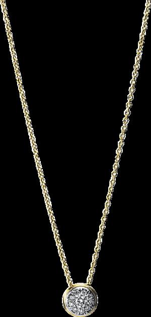 Halskette mit Anhänger Brogle Selection Illusion aus 585 Gelbgold und 585 Weißgold mit 10 Brillanten (0,12 Karat)