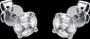 Ohrstecker Brogle Selection Illusion aus 750 Weißgold mit 10 Diamanten (2 x 0,34 Karat)