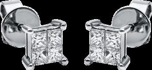 Ohrstecker Brogle Selection Illusion aus 750 Weißgold mit 8 Diamanten (2 x 0,255 Karat)