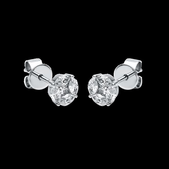 Ohrstecker Brogle Selection Illusion aus 750 Weißgold mit 10 Diamanten (2 x 0,22 Karat) bei Brogle