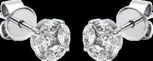Ohrstecker Brogle Selection Illusion aus 750 Weißgold mit 10 Diamanten (2 x 0,22 Karat)