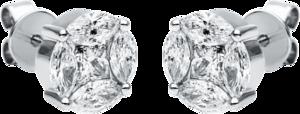 Ohrstecker Brogle Selection Illusion aus 750 Weißgold mit 10 Diamanten (2 x 0,585 Karat)