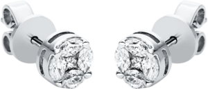 Ohrstecker Brogle Selection Illusion aus 750 Weißgold mit 10 Diamanten (2 x 0,23 Karat)