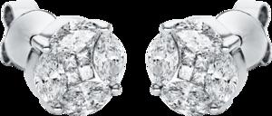 Ohrstecker Brogle Selection Illusion aus 750 Weißgold mit 16 Diamanten (2 x 0,8 Karat)