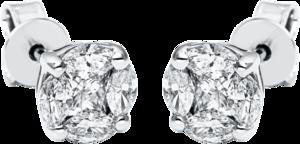 Ohrstecker Brogle Selection Illusion aus 585 Weißgold mit 10 Diamanten (2 x 0,485 Karat)