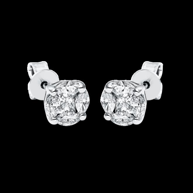 Ohrstecker Brogle Selection Illusion aus 585 Weißgold mit 10 Diamanten (2 x 0,485 Karat) bei Brogle