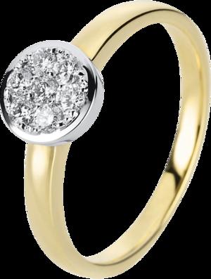 Ring Brogle Selection Illusion aus 585 Gelbgold und 585 Weißgold mit 7 Brillanten (0,24 Karat)