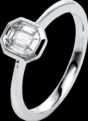 Ring Brogle Selection Illusion aus 585 Weißgold mit 9 Diamanten (0,24 Karat)