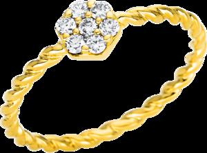 Ring Brogle Selection Illusion aus 750 Gelbgold mit 7 Brillanten (0,16 Karat)