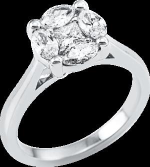 Ring Brogle Selection Illusion aus 750 Weißgold mit 5 Diamanten (0,9 Karat)