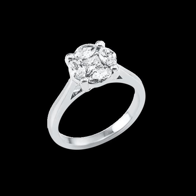 Ring Brogle Selection Illusion aus 750 Weißgold mit 5 Diamanten (0,9 Karat) bei Brogle
