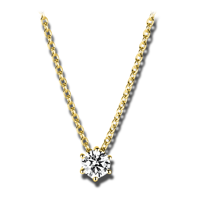 Halskette mit Anhänger Brogle Selection Promise aus 750 Gelbgold mit 1 Brillant (0,25 Karat) bei Brogle
