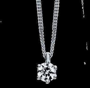 Halskette mit Anhänger Brogle Selection Promise aus 750 Weißgold und 950 Platin mit 1 Brillant (0,15 Karat)