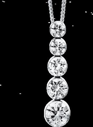 Halskette mit Anhänger Brogle Selection Promise aus 750 Weißgold mit 5 Brillanten (1 Karat)