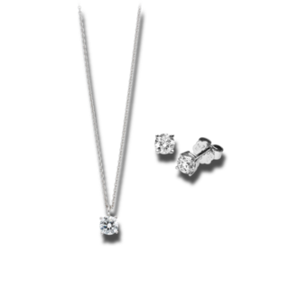 Brogle Selection Halskette Promise Set aus Ohrring und LW-SET1-OK-WG-0.75GSI