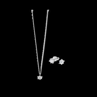 Brogle Selection Halskette Promise Set aus Ohrring und LW-SET2-OK-WG-0.1GSI