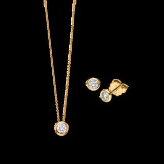 Brogle Selection Halskette Promise Set aus Ohrring und LW-SET3-OK-GG-0.1GSI