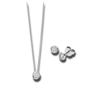 Brogle Selection Halskette Promise Set aus Ohrring und LW-SET3-OK-WG-0.1GSI