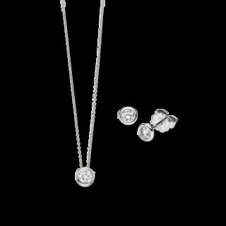 Brogle Selection Halskette Promise Set aus Ohrring und LW-SET3-OK-WG-0.75GSI