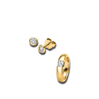 Brogle Selection Ring Promise Set aus Ohrring und LW-SET3-RO-GG-0.1GSI