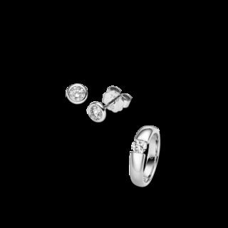 Brogle Selection Ring Promise Set aus Ohrring und LW-SET3-RO-WG-0.5GSI