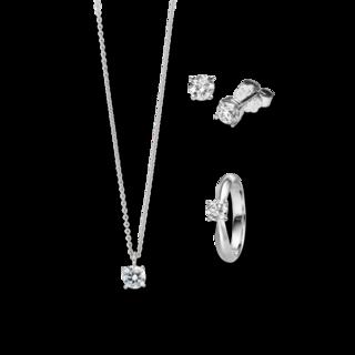 Brogle Selection Ring Promise Set aus Ohrring, Kette und LW-SET1-RKO-WG-0.1GSI