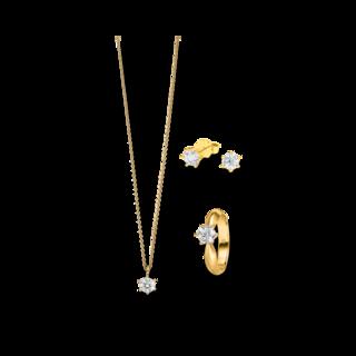 Brogle Selection Ring Promise Set aus Ohrring, Kette und LW-SET2-RKO-GG-0.1GSI