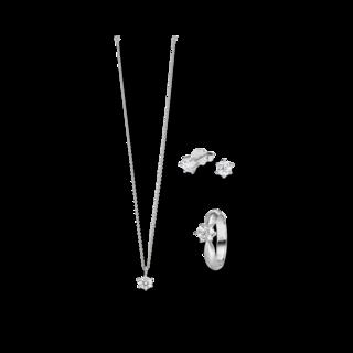 Brogle Selection Ring Promise Set aus Ohrring, Kette und LW-SET2-RKO-WG-0.5GSI