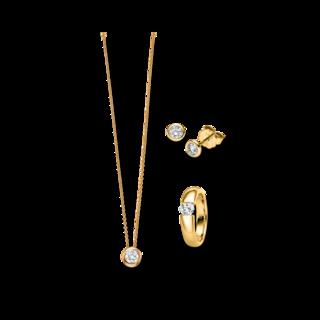 Brogle Selection Ring Promise Set aus Ohrring, Kette und LW-SET3-RKO-GG-0.1GSI