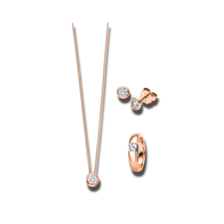 Brogle Selection Ring Promise Set aus Ohrring, Kette und LW-SET3-RKO-RG-0.1GSI