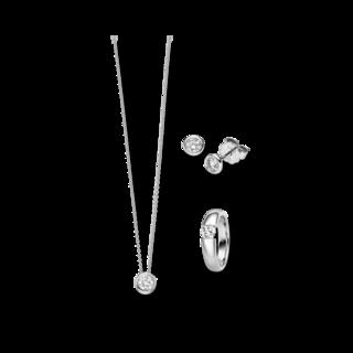 Brogle Selection Ring Promise Set aus Ohrring, Kette und LW-SET3-RKO-WG-0.1GSI