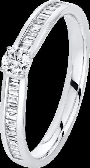 Solitairering Brogle Selection Promise aus 585 Weißgold mit 25 Diamanten (0,27 Karat)