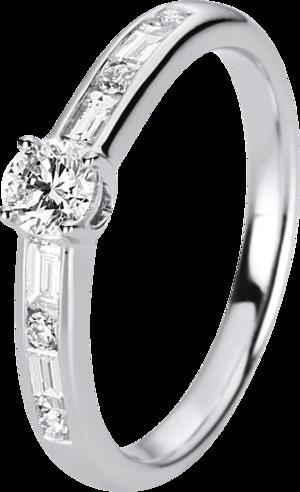 Solitairering Brogle Selection Promise aus 750 Weißgold mit 9 Diamanten (0,5 Karat)