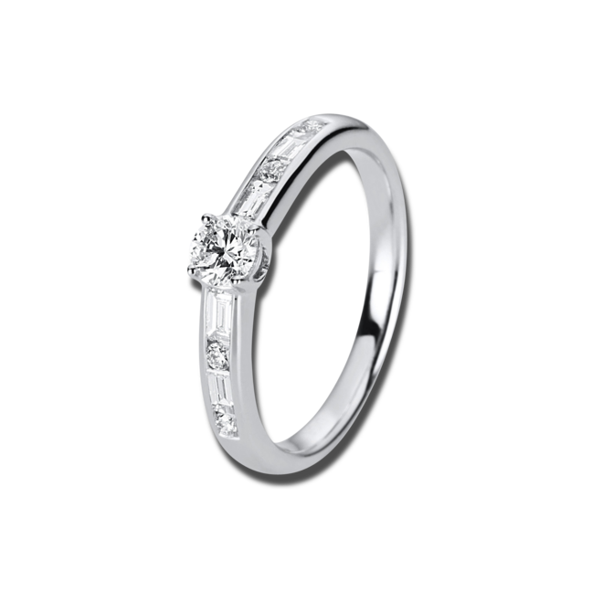 Solitairering Brogle Selection Promise aus 750 Weißgold mit 9 Diamanten (0,5 Karat) bei Brogle